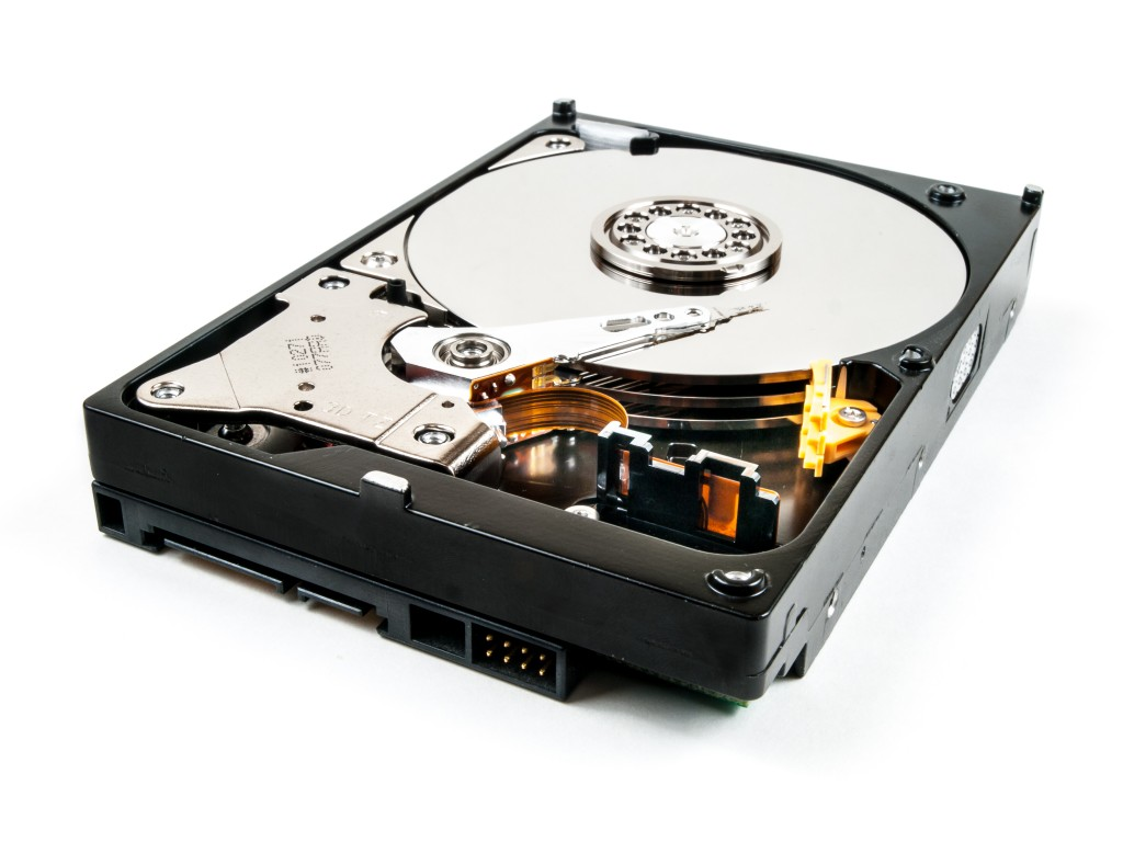 Computer hard drive with the protective casing removed